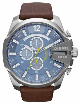 Diesel Men's Mega Chief Blue Dial Brown Leather Strap Chronograph DZ4281