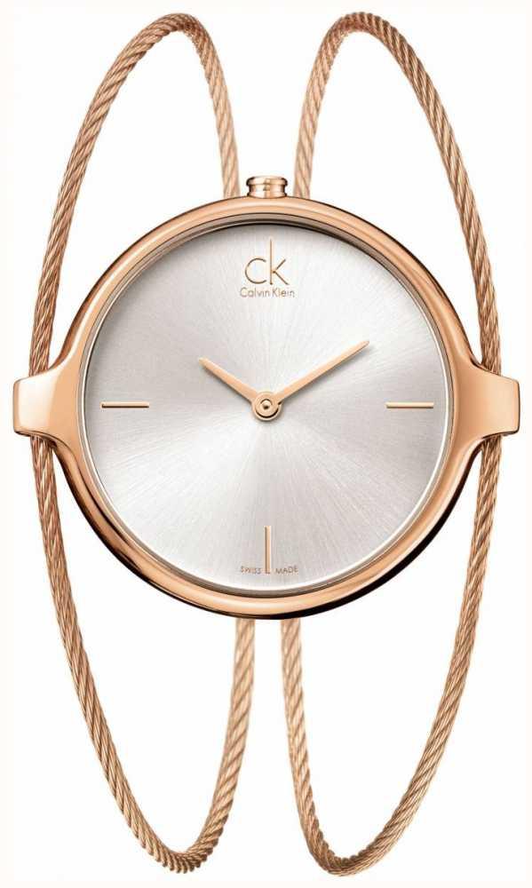 da4fffa8564 Calvin Klein Womens  Agile Rose-Gold Silver Dial (small) K2Z2S616 ...
