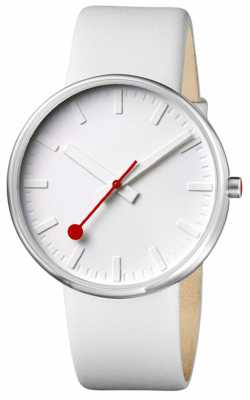 Mondaine Men's Giant Stainless Steel White Dial Leather Strap Watch A660.30328.16SBN