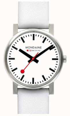 Mondaine Mens Evo White Dial White Leather Strap Watch A658.30300.11SBN