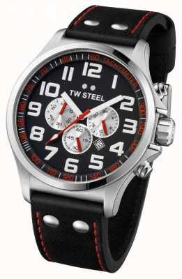 TW Steel Mens Pilot Stainless Steel Black & Red Chrono TW0415