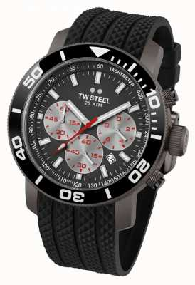 TW Steel Mens Grey Dial Black Bezel Rubber Strap Chrono TW705