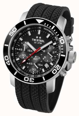 TW Steel Mens Stainless Steel Black Dial Black Rubber Strap Chrono TW0700