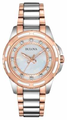 Bulova Womens' Two-Tone Rose-Gold Diamond Set Pearl Dial Watch 98P134