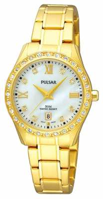 Pulsar Womens' Gold Plate Pearl Dial Crystal Set Watch PH7212X1