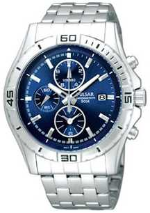 Pulsar Men's Stainless Steel Chronograph Blue Dial Watch PF8397X1