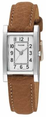Pulsar Womens' Stainless Steel Tan Leather Strap Watch PC3163X1