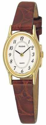 Pulsar Womens' Gold Plate White Oval Dial Brown Leather Watch PPGD68X1