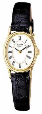 Pulsar Womens' Gold Plate White Oval Dial Black Leather Watch PPGD64X1