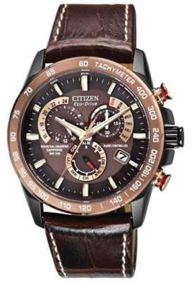 Citizen Mens Perpetual Chronograph A-T Brown & Black AT4006-06X
