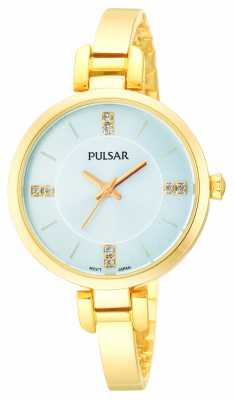 Pulsar Womens' Gold Plate Semi Bangle Crystal Set Watch PH8034X1