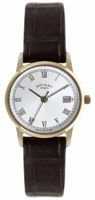 Rotary Rose Gold Plated Brown Strap Watch LS02754/21