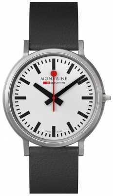 Mondaine Mens Stop2Go White Dial Black Leather Strap Watch A512.30358.16SBB