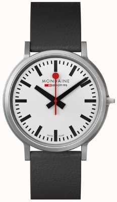 Mondaine Mens Stop2Go White Dial Black Leather Strap Watch A512.30358.16SBB