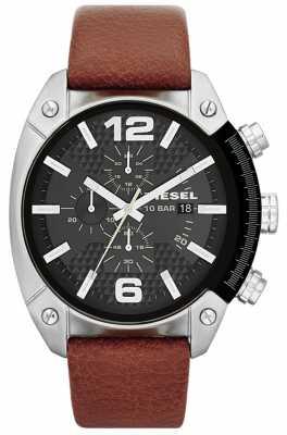Diesel Men's Overflow Brown Leather Strap Watch DZ4296