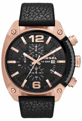 Diesel Men's Overflow Rose-Gold Black Dial Black Leather Strap Watch DZ4297