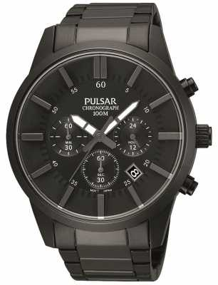 Pulsar Men's Black Ion-Plated Steel Chronograph PT3345X1