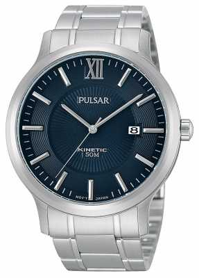 Pulsar Men's Kinetic Stainless Steel Dark Blue Dial Watch PAR183X1