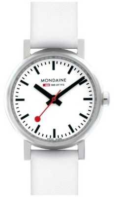 Mondaine Womens' Evo White Dial White Leather Strap Watch A658.30301.11SBN