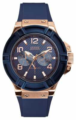 Guess Men's Rigor Blue and Rose-Gold Watch W0247G3