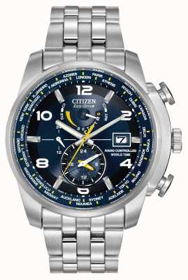 Citizen Radio Controlled World Time A-T Blue Dial Stainless Steel AT9010-52L