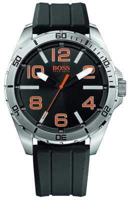 Hugo Boss Orange Mens Stainless Steel Black Dial Rubber Strap Watch 1512943
