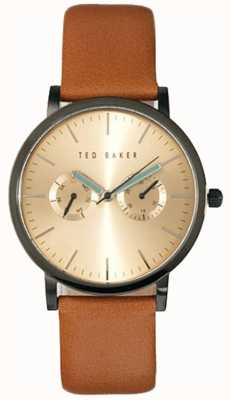 Ted Baker Mens Multi Dial Brown Leather Gold Dial Watch TE1094