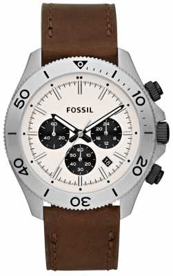 Fossil Men's Traveller Stainless Steel Cream Dial Brown Leather CH2886