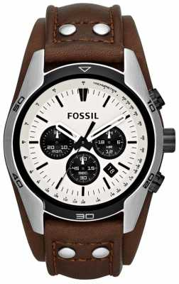 Fossil Men's Coachman Cream/ Black Dial Brown Leather Cuff Watch CH2890
