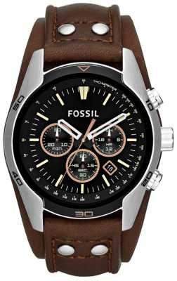 Fossil Men's Coachman Black Dial Brown Leather Cuff Strap Watch CH2891