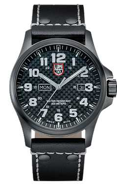 Luminox Men's Black Plated Steel Carbon-Effect Black Leather Strap A.1921