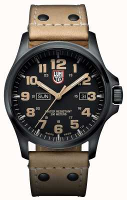 Luminox Atacama 1920 Day Date Black IP Steel Brown Leather Watch XL.1925