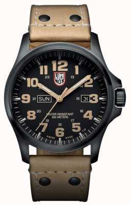 Luminox Mens Black Ion-Plated Steel Brown Detail Brown Leather Watch XL.1925