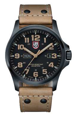 Luminox Mens Black Ion-Plated Steel Brown Detail Brown Leather Watch A.1925