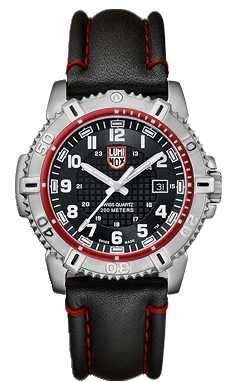 Luminox Mens Stainless-Steel Black Dial Red Detail Leather Strap A.6265