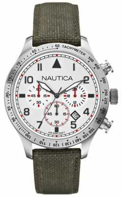 Nautica Mens BFD 105 Stainless Steel Grey Canvas Strap Watch A16580G