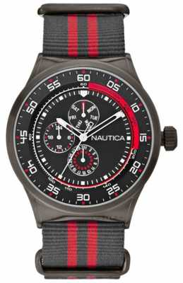 Nautica Men's NST 17 Black & Red Multifunction Watch A16575G