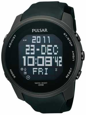 Pulsar Men's Digital Ion Plated Steel Black Rubber Strap Watch PQ2011X1