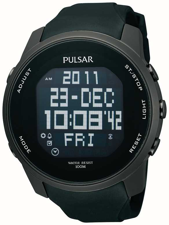 pulsar mens digital ion plated steel black rubber strap watch rh firstclasswatches co uk pulsar watch manual w861 pulsar wrist watch manual