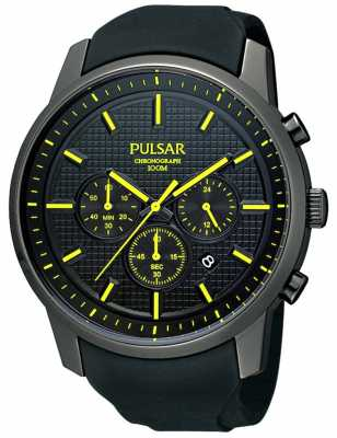 Pulsar Men's Black Ion-Plated Yellow Detail Rubber Strap Watch PT3193X1