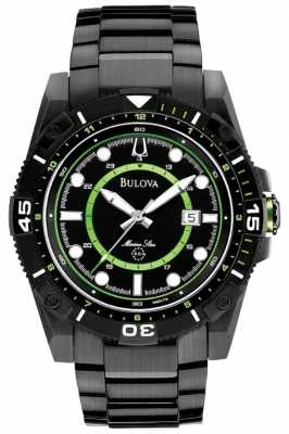 Bulova Men's Marine Star Black & Green Watch 98B178