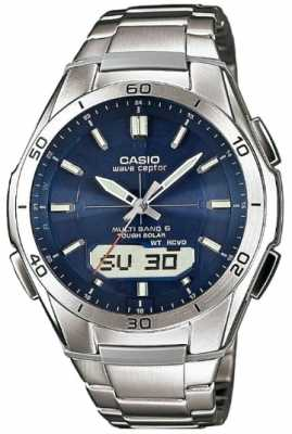 Casio Mens Wave Ceptor Blue Dial Stainless-Steel Watch WVA-M640D-2AER