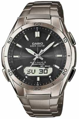 Casio Men's Wave Ceptor Black Dial Titanium Watch WVA-M640TD-1AER
