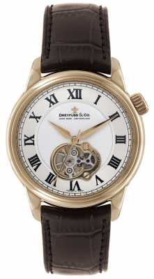 Dreyfuss Mens Auto Rose Gold Brown Leather Strap Skeleton Dial Watch DGS00093/01