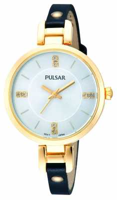 Pulsar Womens' Black Leather Strap Gold Plate Crystal Set Slim Watch PH8036X1