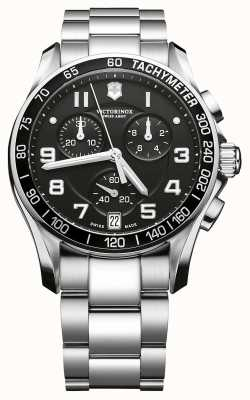 Victorinox Swiss Army Mens Classic Stainless Steel Black Dial Chrono 241494