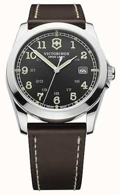 Victorinox Swiss Army Mens Infantry Black Dial Brown Leather Watch 241563