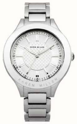 Karen Millen Womens' Stainless-Steel Crystal-Set Round Dial Watch KM124SM