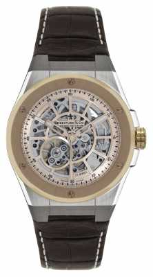 Dreyfuss Mens Two Tone Skeleton Dial Brown Leather Strap Watch DGS00081/06