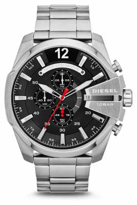 Diesel Men's Mega Chief Stainless Steel Black Dial Watch DZ4308